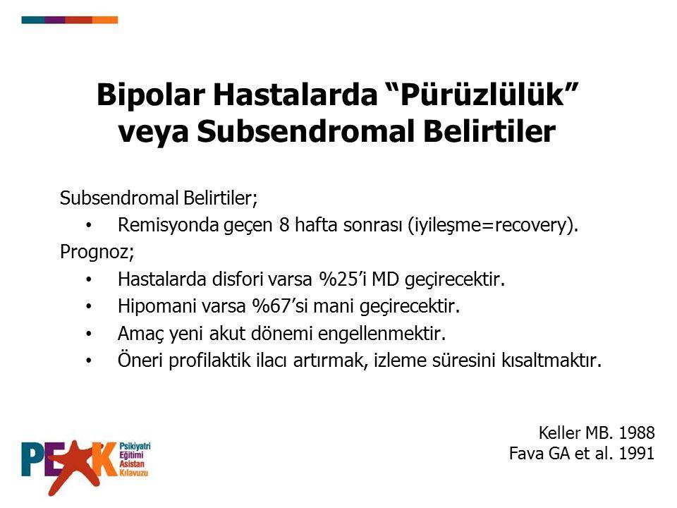 Bipolar Hastalarda Pürüzlülük veya Subsendromal Belirtiler