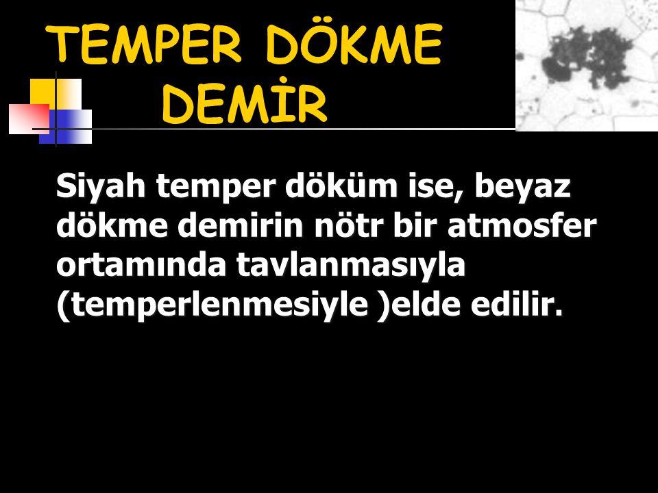 TEMPER DÖKME DEMİR Siyah temper döküm ise, beyaz dökme demirin nötr bir atmosfer ortamında tavlanmasıyla (temperlenmesiyle )elde edilir.