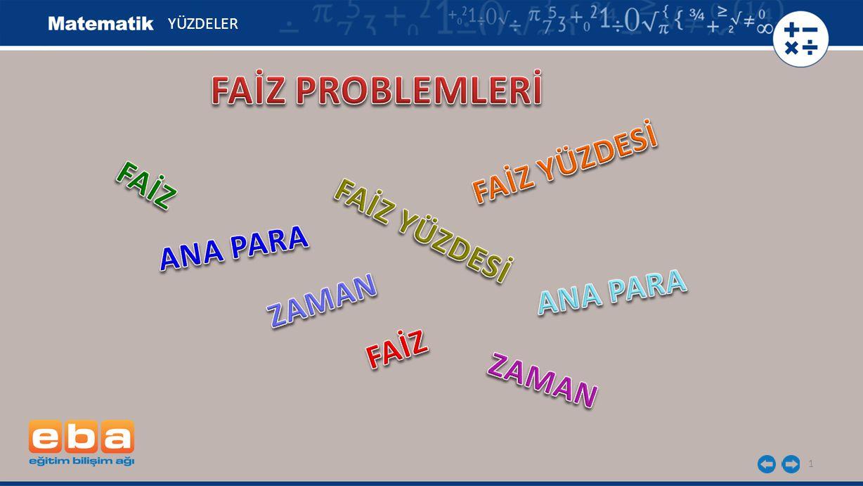 FAİZ PROBLEMLERİ FAİZ YÜZDESİ FAİZ FAİZ YÜZDESİ ANA PARA ANA PARA