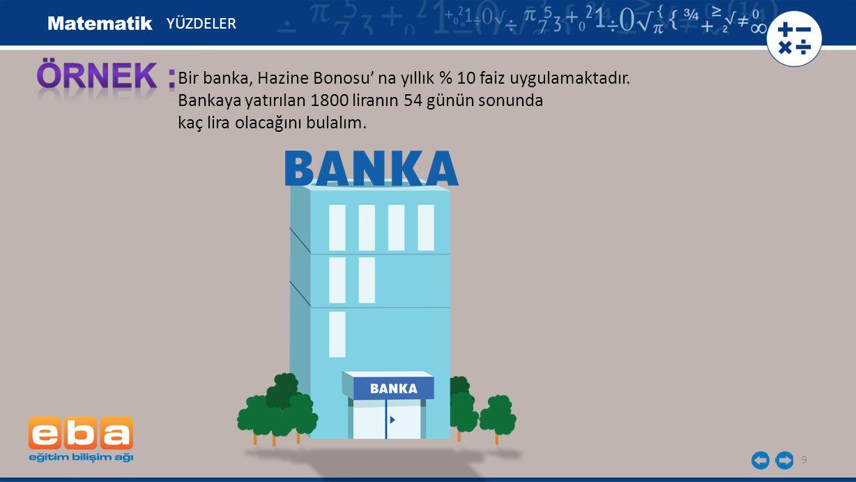 ÖRNEK : Bir banka, Hazine Bonosu' na yıllık % 10 faiz uygulamaktadır.