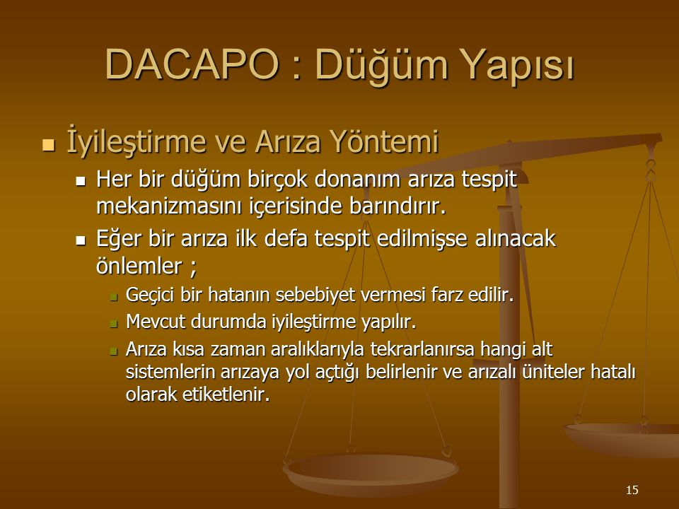 DACAPO : Düğüm Yapısı İyileştirme ve Arıza Yöntemi
