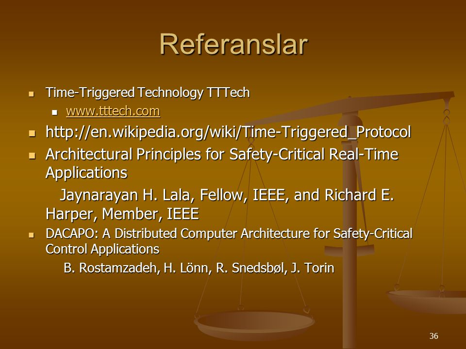 Referanslar http://en.wikipedia.org/wiki/Time-Triggered_Protocol
