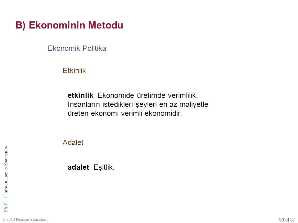 B) Ekonominin Metodu Ekonomik Politika Etkinlik