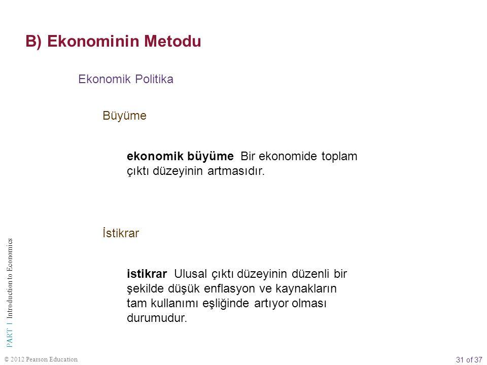 B) Ekonominin Metodu Ekonomik Politika Büyüme