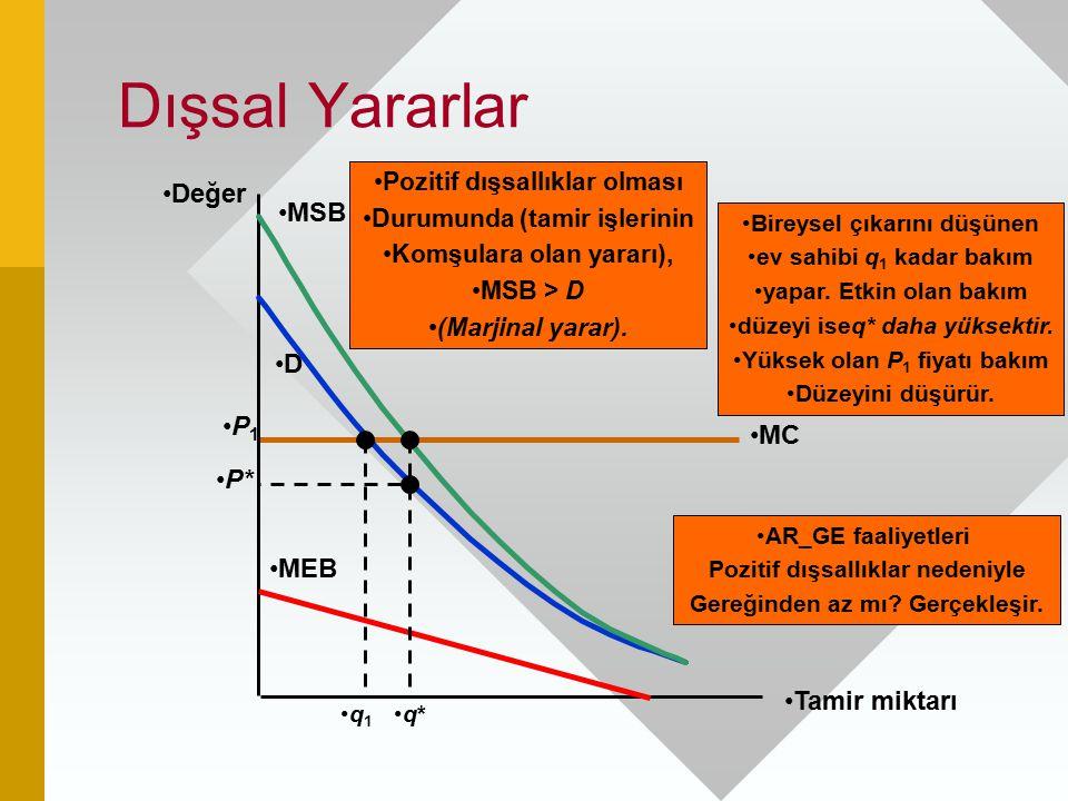 Dışsal Yararlar Değer MSB D P1 MC P* MEB Tamir miktarı