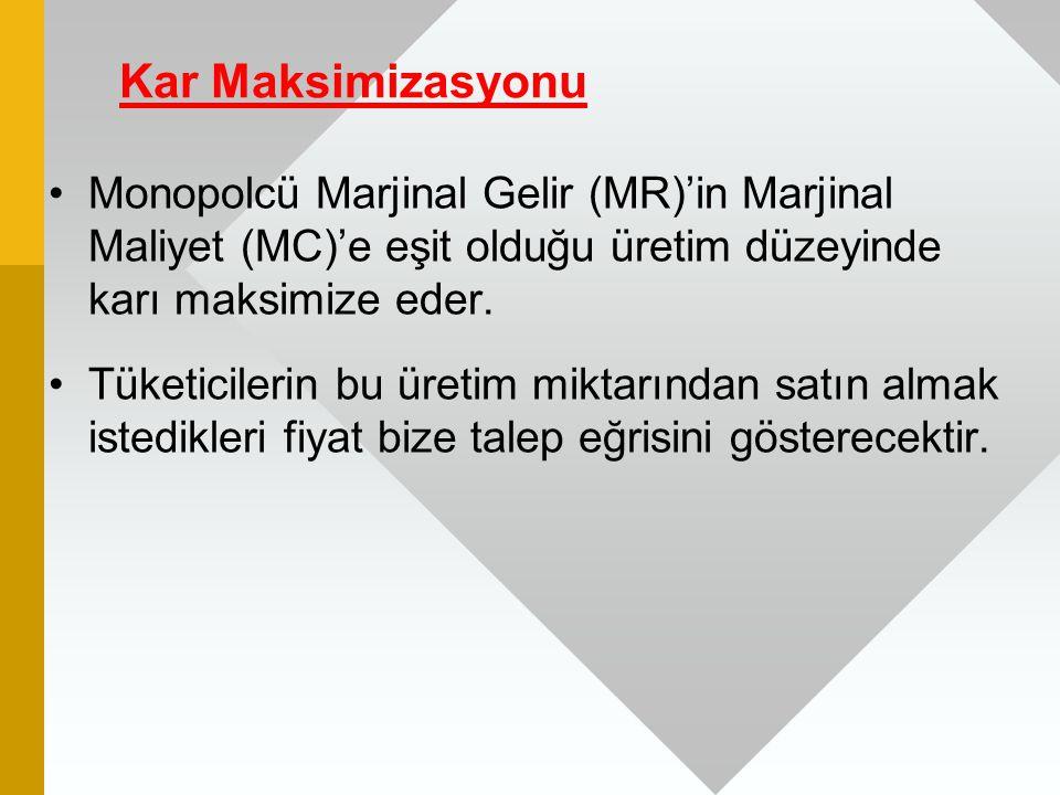 Kar Maksimizasyonu Monopolcü Marjinal Gelir (MR)'in Marjinal Maliyet (MC)'e eşit olduğu üretim düzeyinde karı maksimize eder.