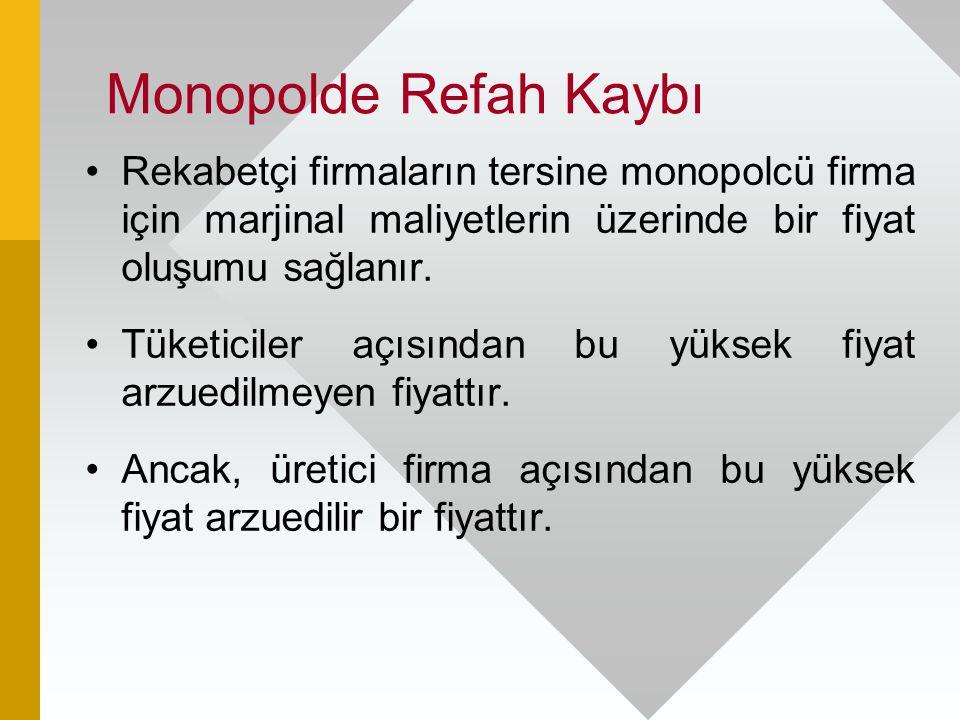 Monopolde Refah Kaybı Rekabetçi firmaların tersine monopolcü firma için marjinal maliyetlerin üzerinde bir fiyat oluşumu sağlanır.