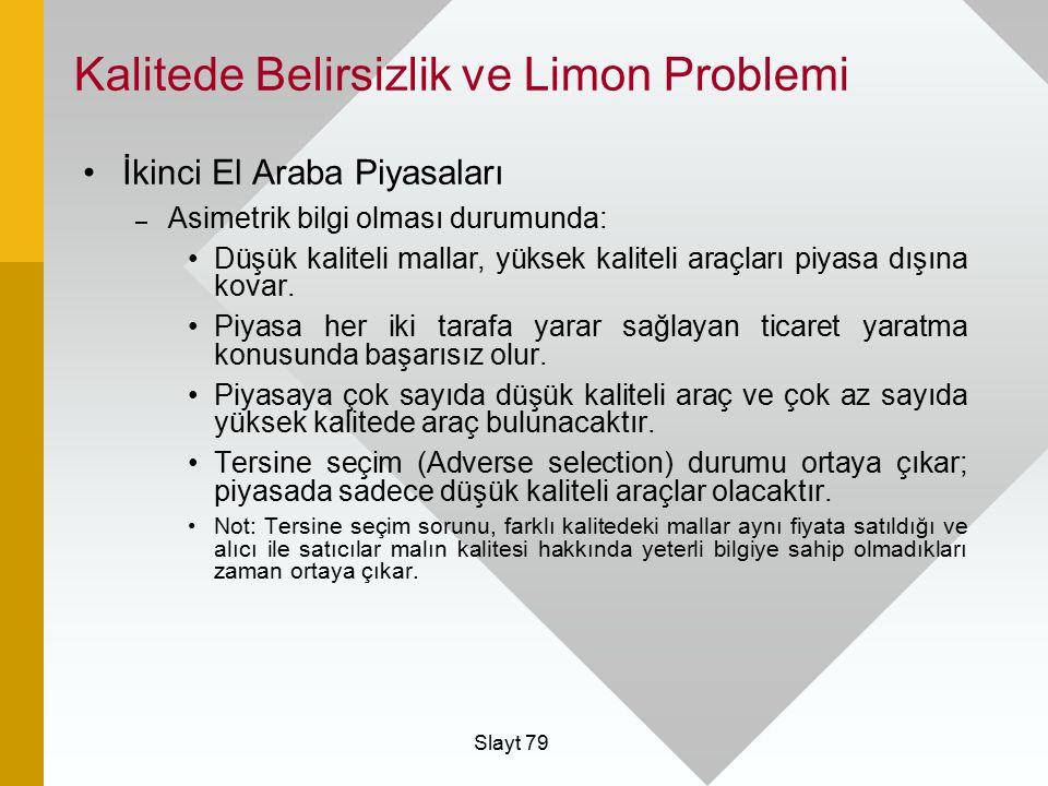 Kalitede Belirsizlik ve Limon Problemi