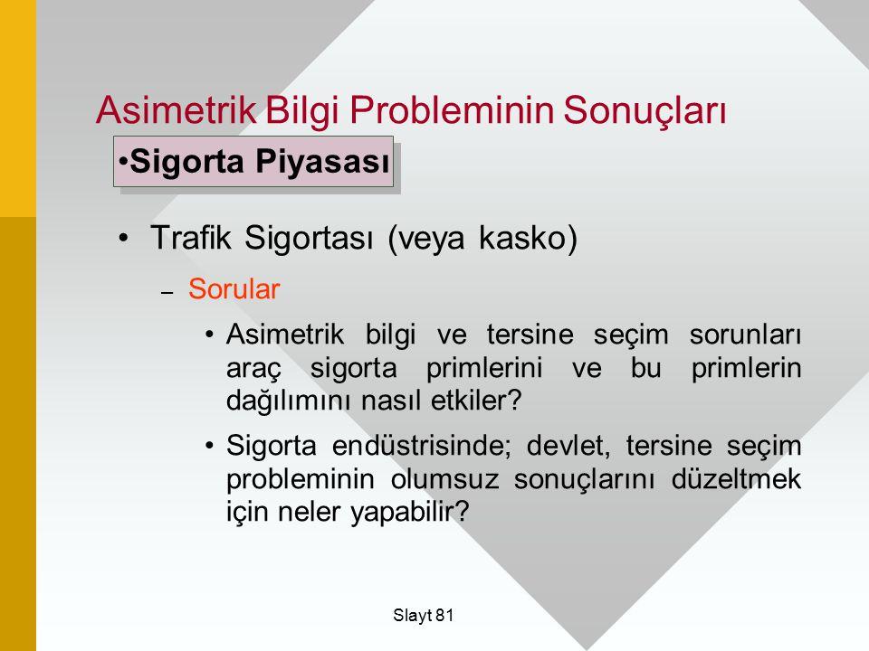 Asimetrik Bilgi Probleminin Sonuçları