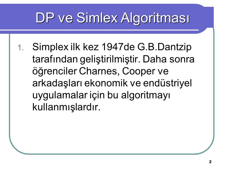 DP ve Simlex Algoritması