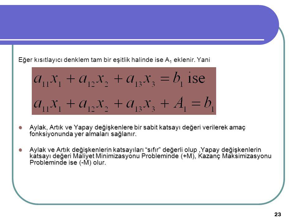 Eğer kısıtlayıcı denklem tam bir eşitlik halinde ise A1 eklenir. Yani