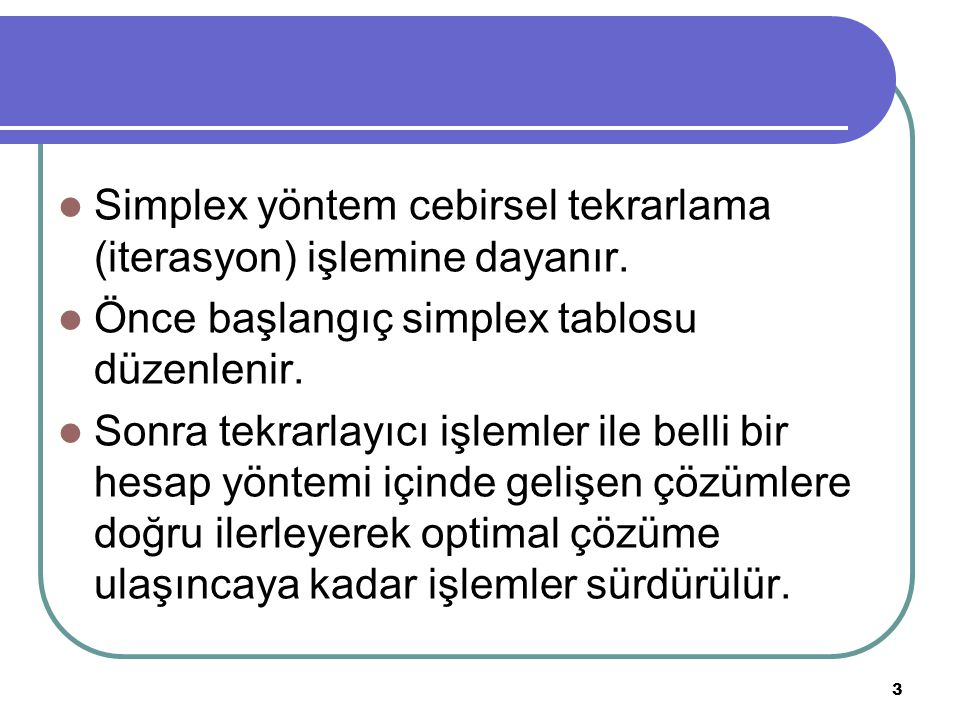 Simplex yöntem cebirsel tekrarlama (iterasyon) işlemine dayanır.