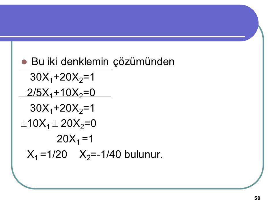 Bu iki denklemin çözümünden