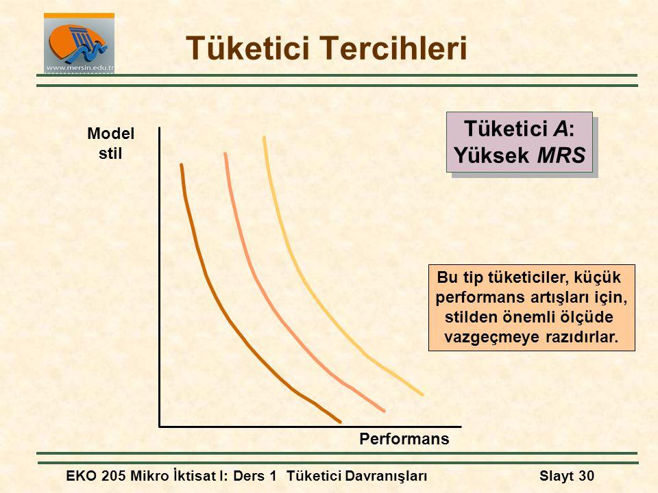 Tüketici Tercihleri Tüketici A: Yüksek MRS Model stil