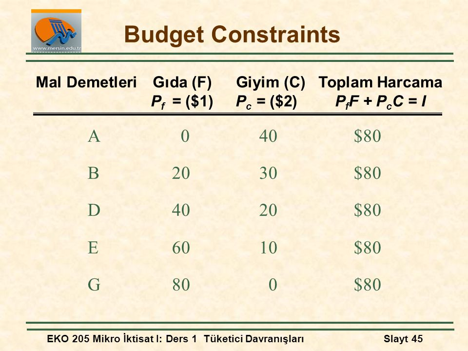 Budget Constraints A 0 40 $80 B 20 30 $80 D 40 20 $80 E 60 10 $80