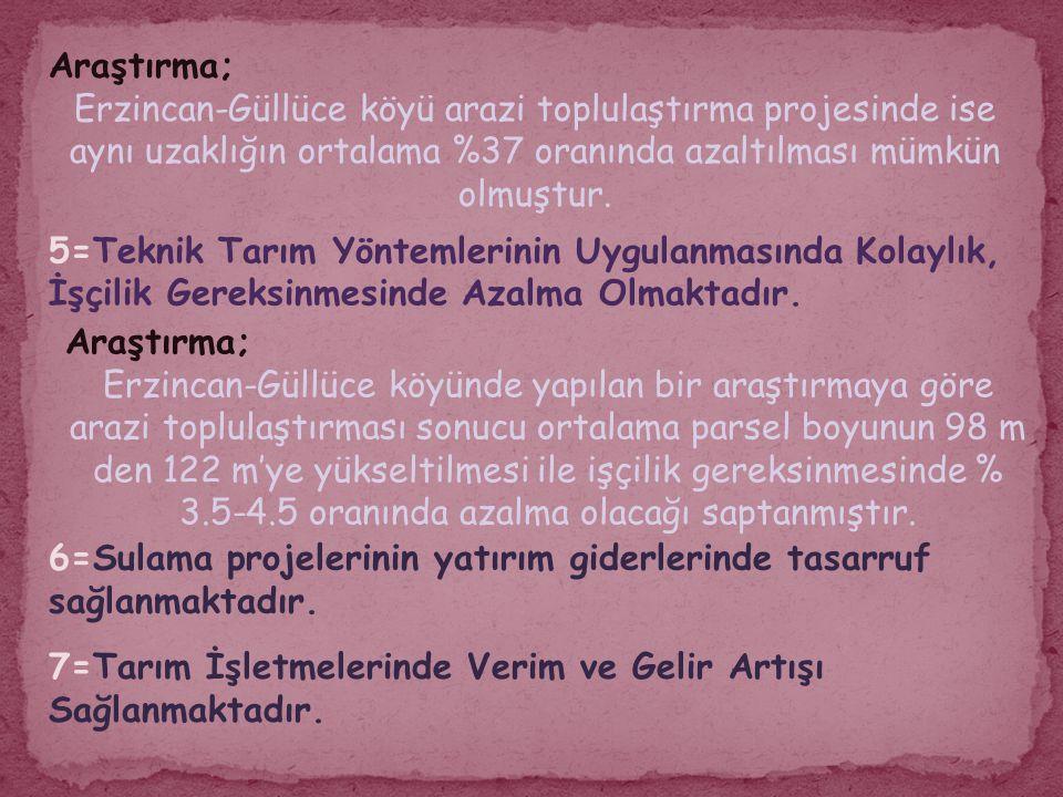 Araştırma; Erzincan-Güllüce köyü arazi toplulaştırma projesinde ise aynı uzaklığın ortalama %37 oranında azaltılması mümkün olmuştur.