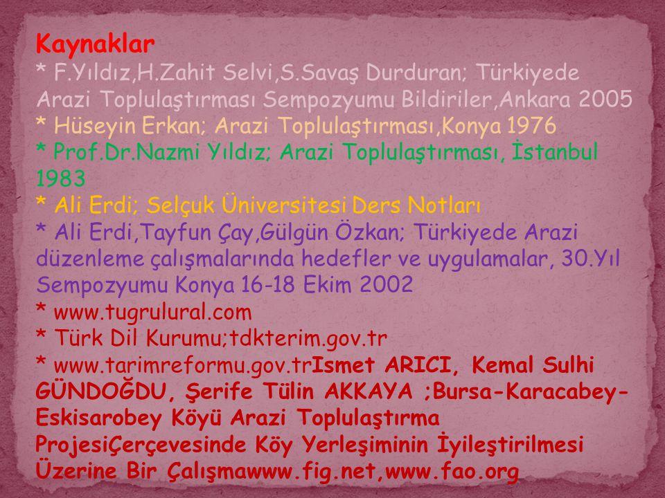 Kaynaklar * F.Yıldız,H.Zahit Selvi,S.Savaş Durduran; Türkiyede Arazi Toplulaştırması Sempozyumu Bildiriler,Ankara 2005.