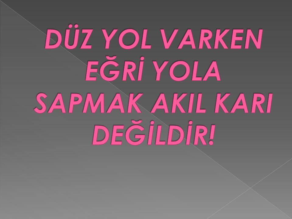 DÜZ YOL VARKEN EĞRİ YOLA SAPMAK AKIL KARI DEĞİLDİR!