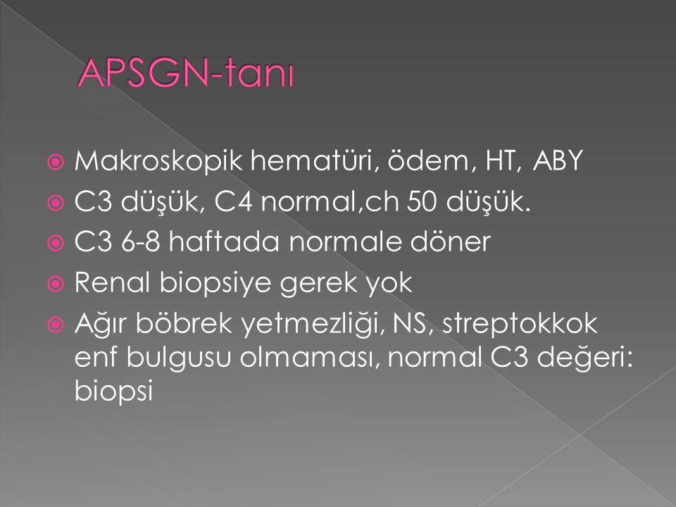 APSGN-tanı Makroskopik hematüri, ödem, HT, ABY