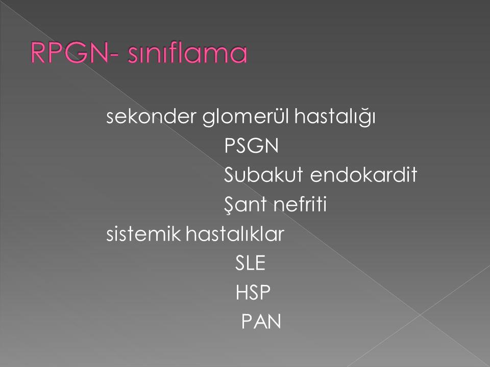 RPGN- sınıflama sekonder glomerül hastalığı PSGN Subakut endokardit Şant nefriti sistemik hastalıklar SLE HSP PAN
