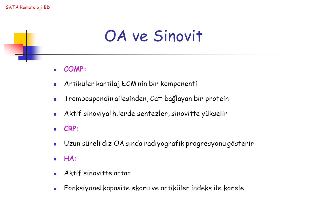 OA ve Sinovit COMP: Artikuler kartilaj ECM'nin bir komponenti