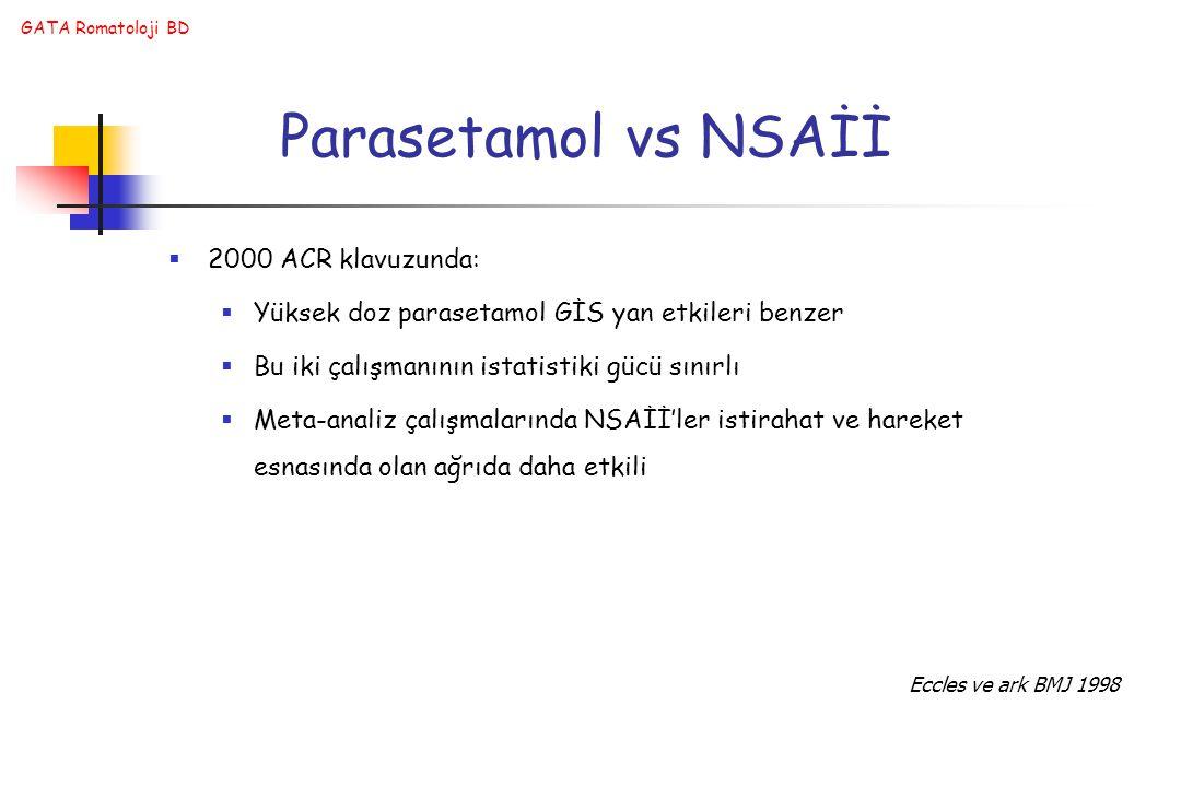 Parasetamol vs NSAİİ 2000 ACR klavuzunda: