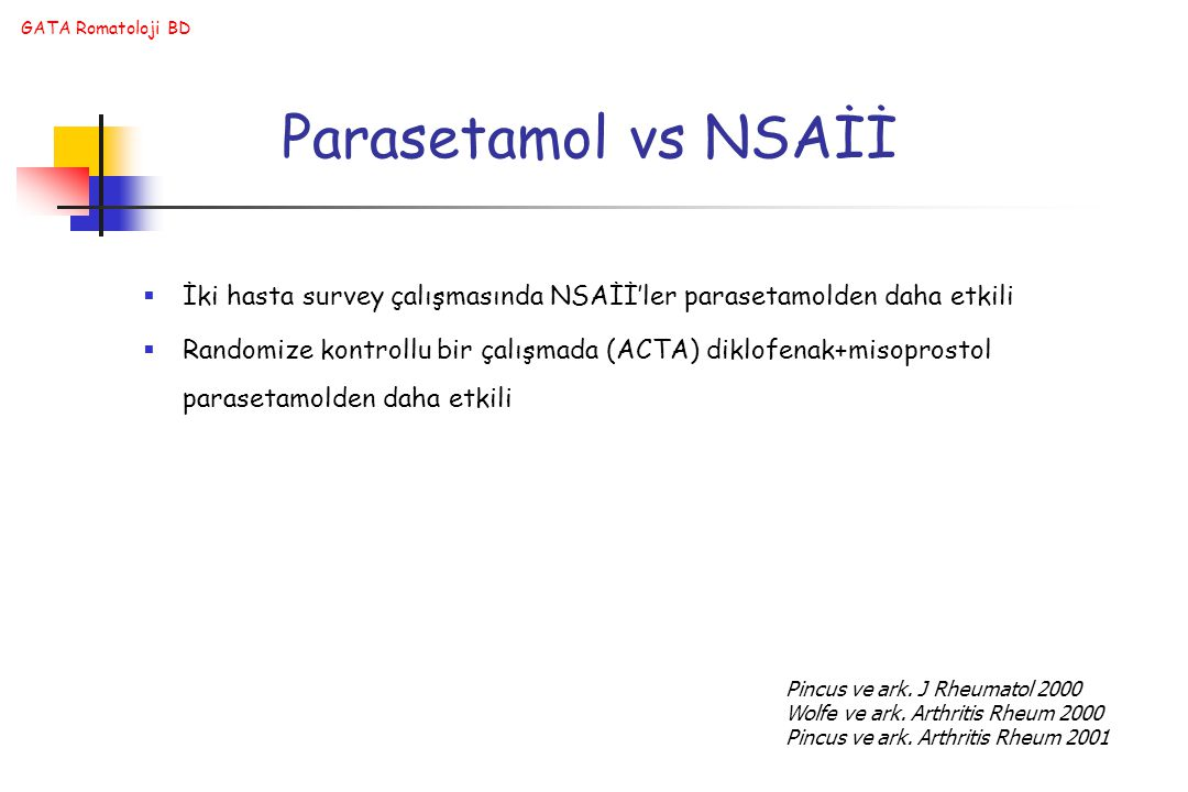 Parasetamol vs NSAİİ İki hasta survey çalışmasında NSAİİ'ler parasetamolden daha etkili.