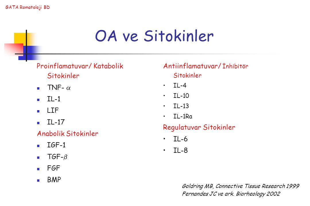 OA ve Sitokinler Proinflamatuvar/ Katabolik Sitokinler TNF-  IL-1 LIF