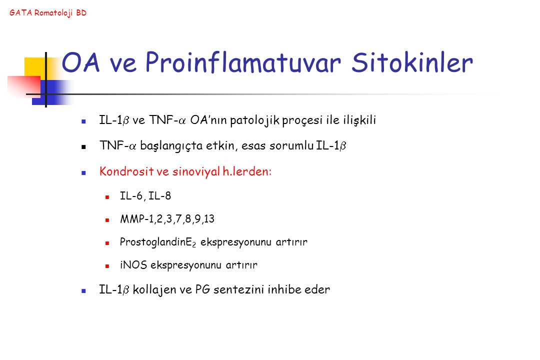 OA ve Proinflamatuvar Sitokinler