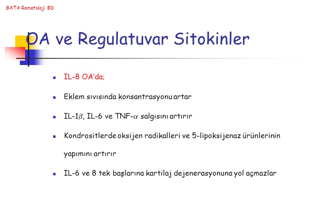 OA ve Regulatuvar Sitokinler
