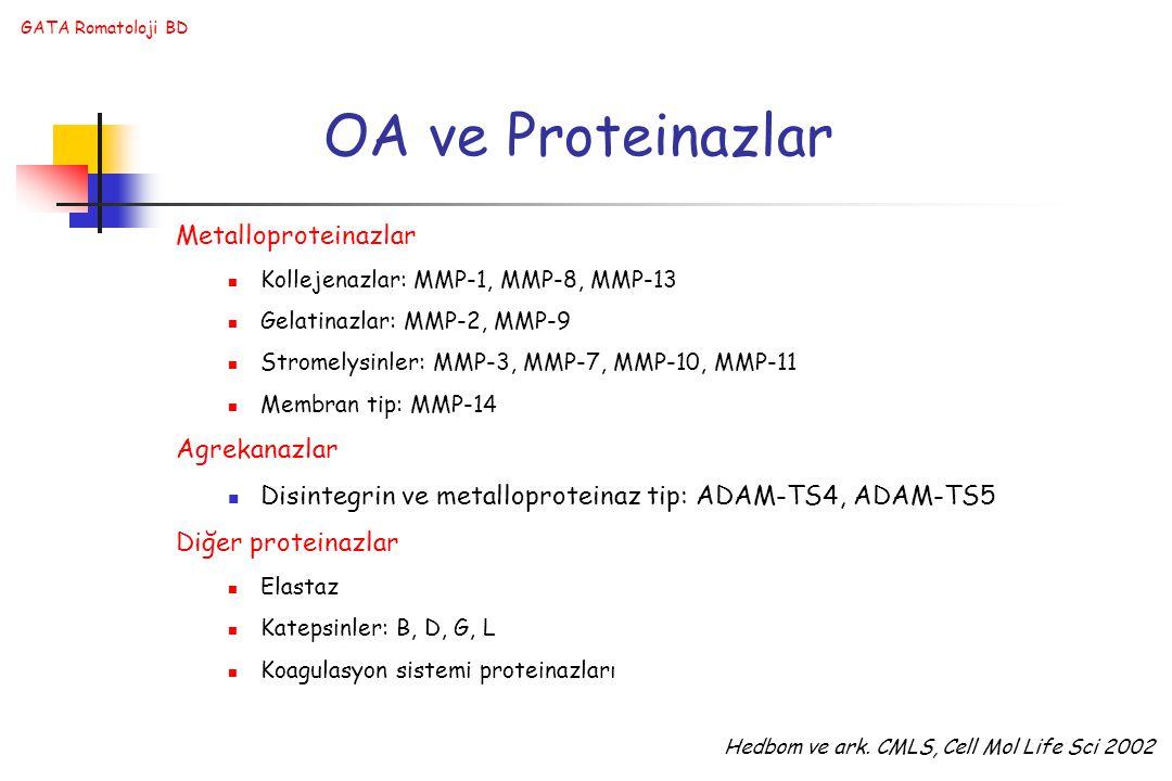 OA ve Proteinazlar Metalloproteinazlar Agrekanazlar