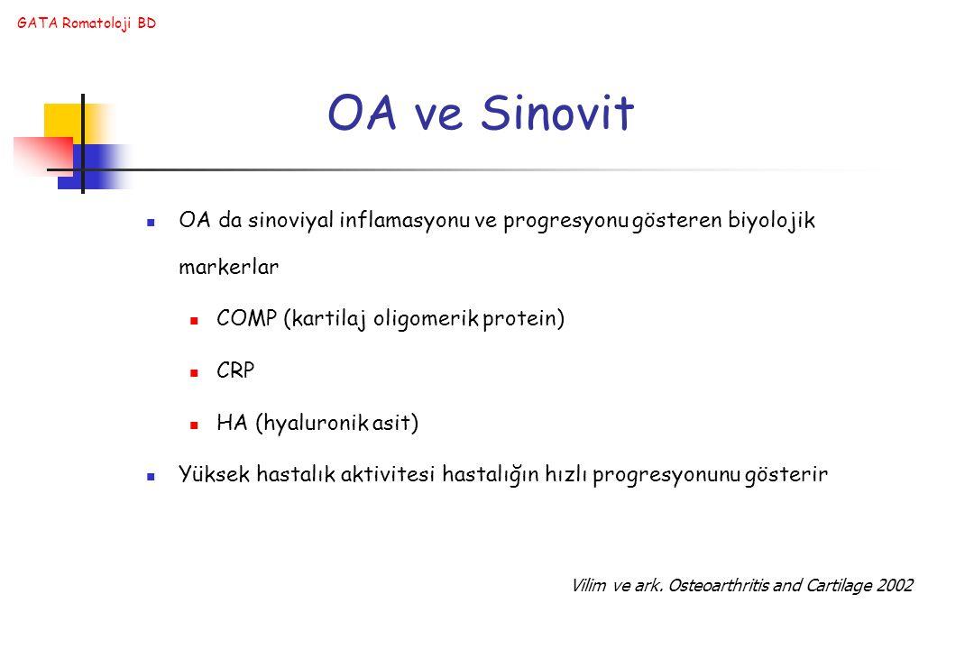 OA ve Sinovit OA da sinoviyal inflamasyonu ve progresyonu gösteren biyolojik markerlar. COMP (kartilaj oligomerik protein)