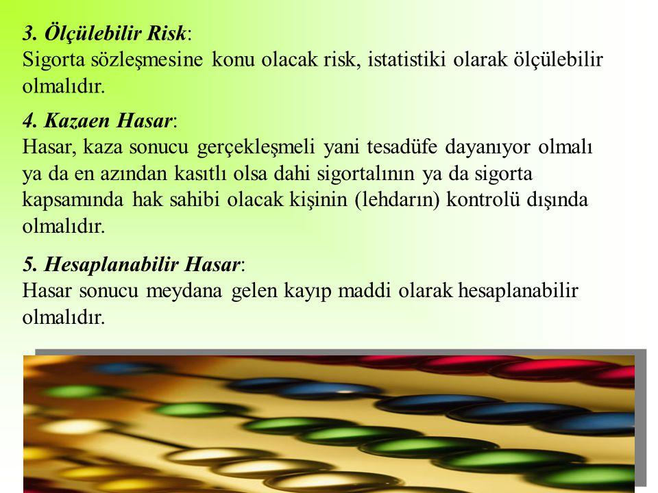 3. Ölçülebilir Risk: Sigorta sözleşmesine konu olacak risk, istatistiki olarak ölçülebilir olmalıdır.