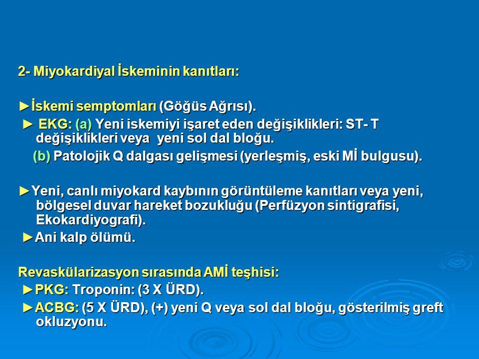 2- Miyokardiyal İskeminin kanıtları: