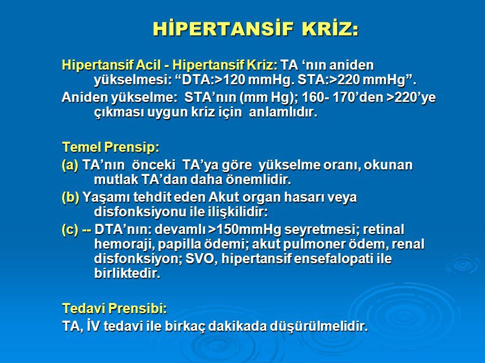 HİPERTANSİF KRİZ: Hipertansif Acil - Hipertansif Kriz: TA 'nın aniden yükselmesi: DTA:>120 mmHg. STA:>220 mmHg .