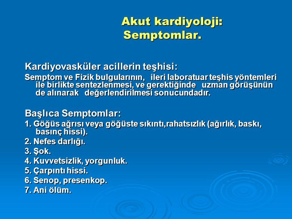 Akut kardiyoloji: Semptomlar.
