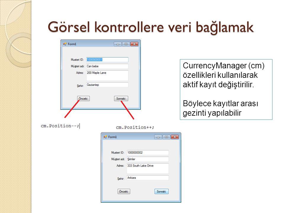 Görsel kontrollere veri bağlamak