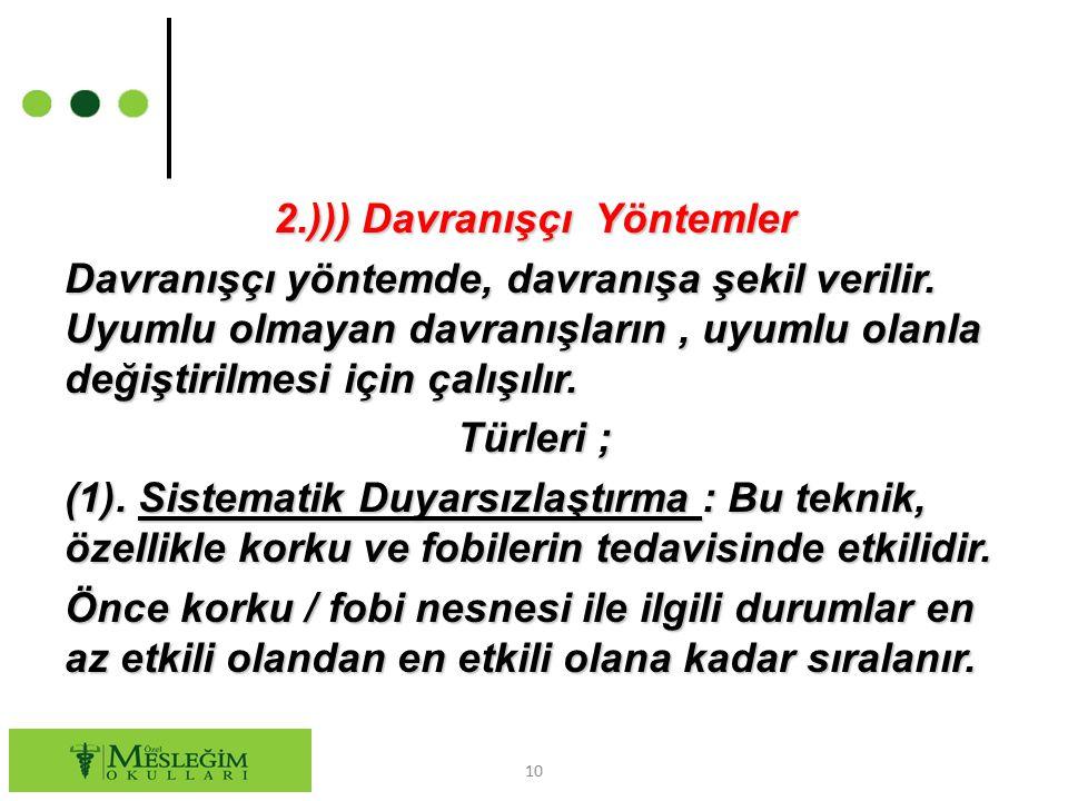 2.))) Davranışçı Yöntemler Davranışçı yöntemde, davranışa şekil verilir.