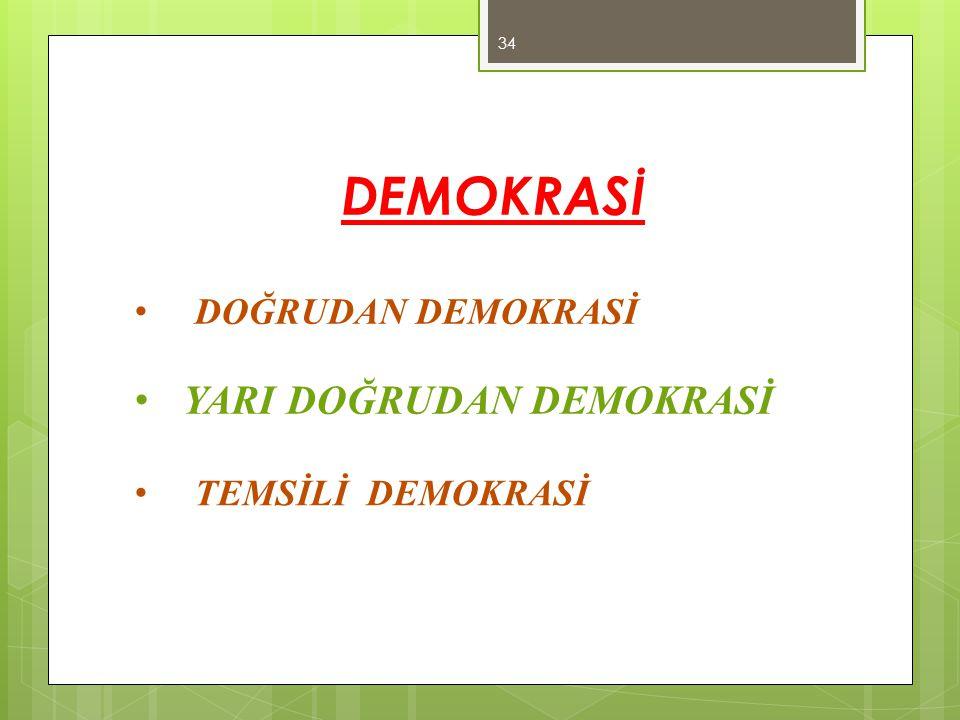 DEMOKRASİ DOĞRUDAN DEMOKRASİ YARI DOĞRUDAN DEMOKRASİ TEMSİLİ DEMOKRASİ