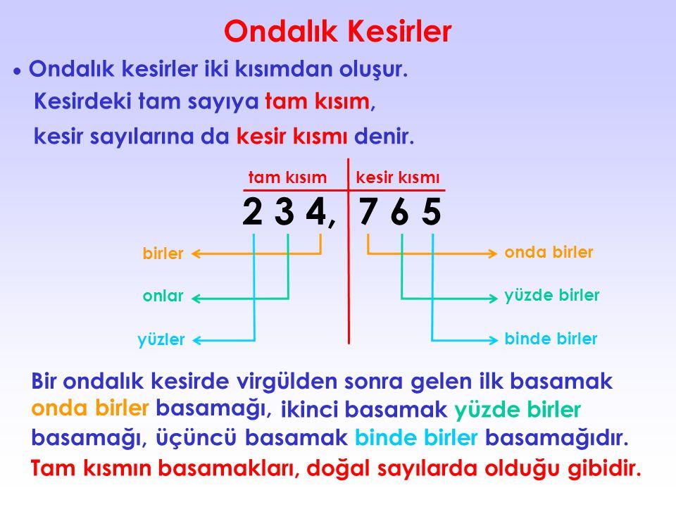 2 3 4, 7 6 5 Ondalık Kesirler Kesirdeki tam sayıya tam kısım,