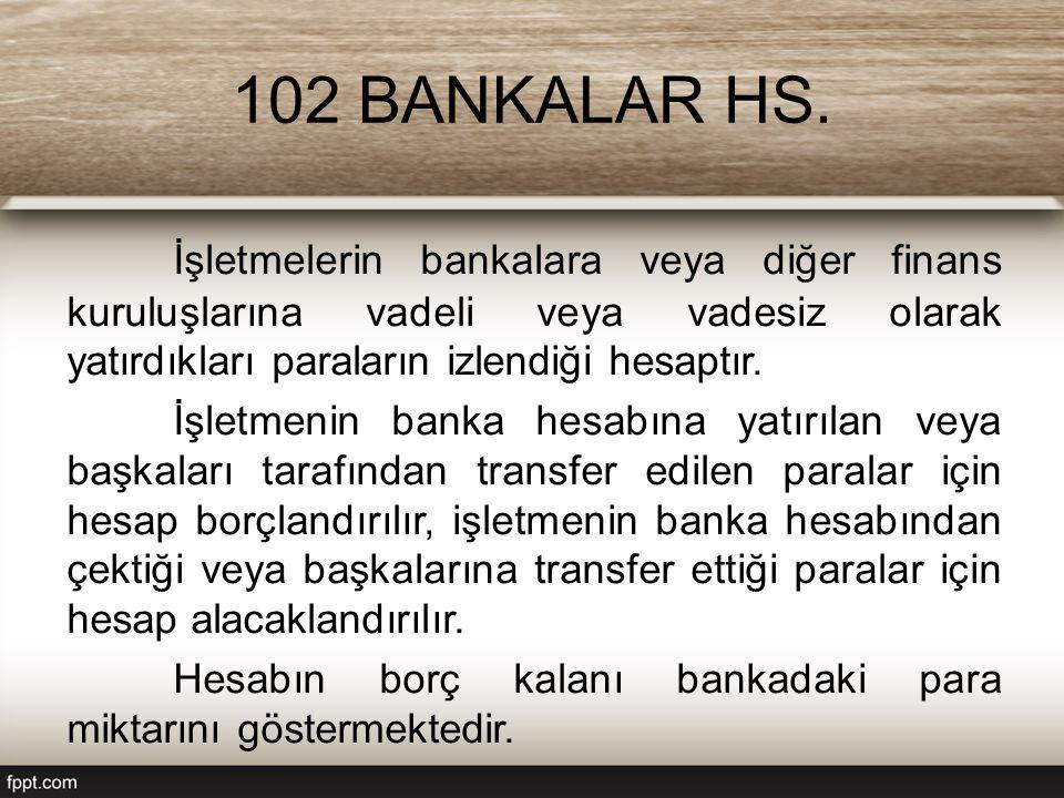 102 BANKALAR HS. İşletmelerin bankalara veya diğer finans kuruluşlarına vadeli veya vadesiz olarak yatırdıkları paraların izlendiği hesaptır.