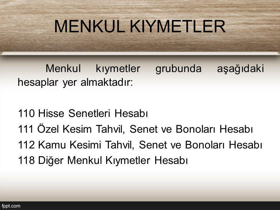 MENKUL KIYMETLER Menkul kıymetler grubunda aşağıdaki hesaplar yer almaktadır: 110 Hisse Senetleri Hesabı.