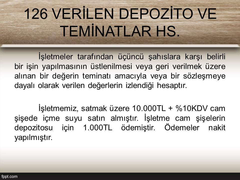 126 VERİLEN DEPOZİTO VE TEMİNATLAR HS.