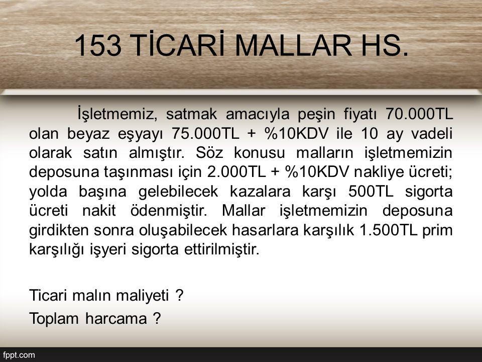 153 TİCARİ MALLAR HS.