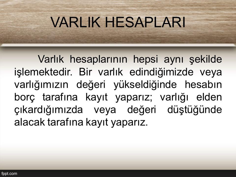 VARLIK HESAPLARI