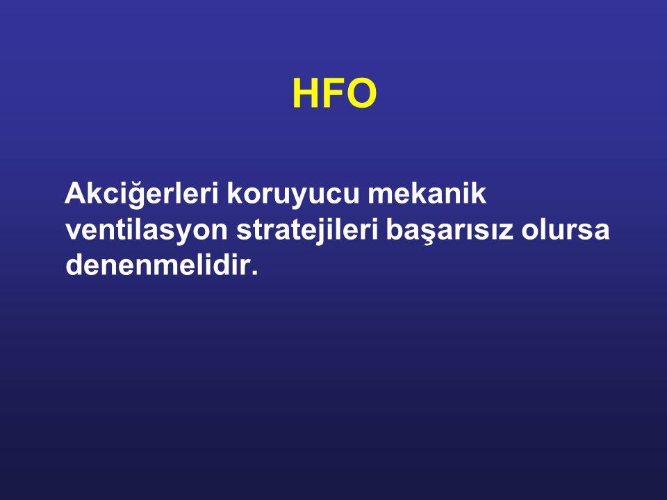 HFO Akciğerleri koruyucu mekanik ventilasyon stratejileri başarısız olursa denenmelidir.