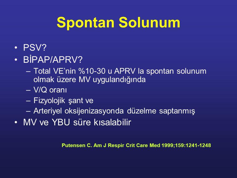 Spontan Solunum PSV BİPAP/APRV MV ve YBU süre kısalabilir