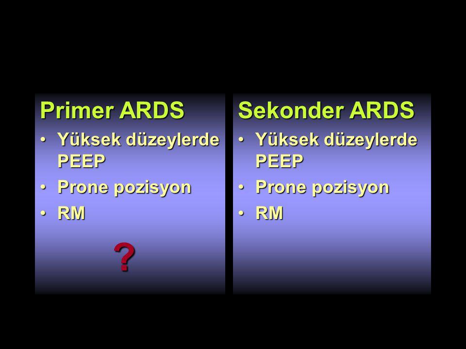 Primer ARDS Sekonder ARDS Yüksek düzeylerde PEEP Prone pozisyon RM