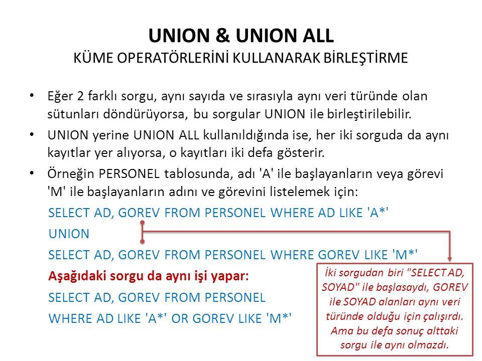 UNION & UNION ALL KÜME OPERATÖRLERİNİ KULLANARAK BİRLEŞTİRME