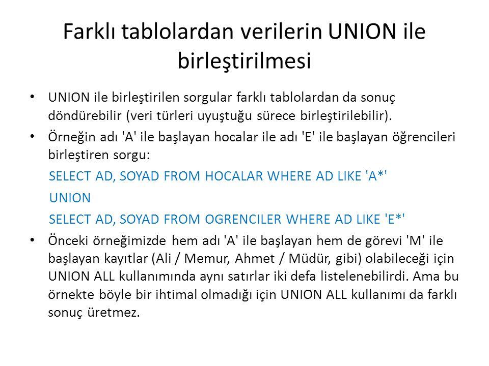 Farklı tablolardan verilerin UNION ile birleştirilmesi